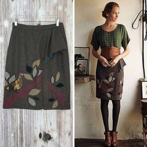Floreat in the Trees Bird Applique Pencil Skirt